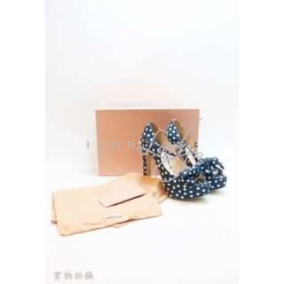 MIU MIU  藍色牛仔布 波點 高跟涼鞋