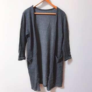 🚚 墨灰色內刷毛長版罩衫 外套
