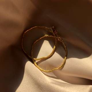 質感金圈耳環 Textured Circle Earrings