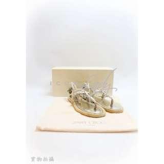 - JIMMY CHOO Peppin 銀色 拖鞋 涼鞋