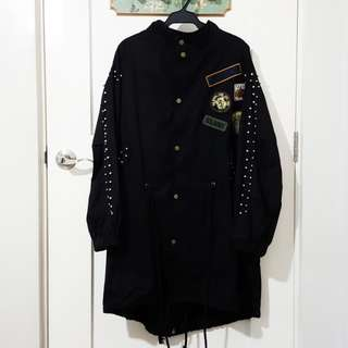 Black Anorak w/ Studs & Patches (from Korea)