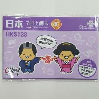 日本7日上網卡