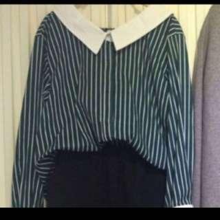 韓國購入 正韓綠白條紋v領襯衫 boga shop也有賣