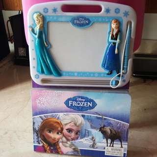 Disney Frozen Hardcover Cardboad Book Attached Magnetic Drawing Board & Pen By Disney