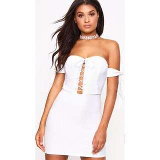 White off-shoulder corset dress