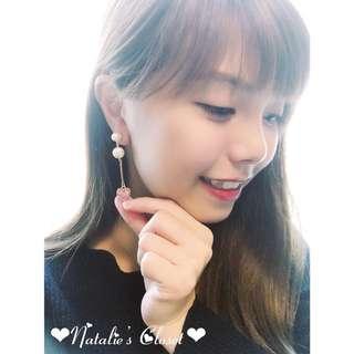 日系珠珠愛心耳環