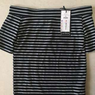 BNWT CO Ribbed Off Shoulder Top