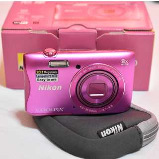 Nikon COOLPIX S3700 Wi- Fi enabled Digital Camera with 8x Optical Zoom +16 GB Memory Card