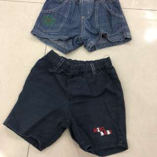 2pcs Short Pants (L) (1-2years)