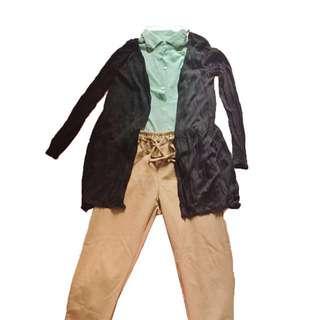 🚚 湖水綠無袖雪紡上衣+黑色長版彈性貼身外罩