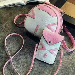 Cute Emoji Face Pink Bag | 2 in 1 Bag