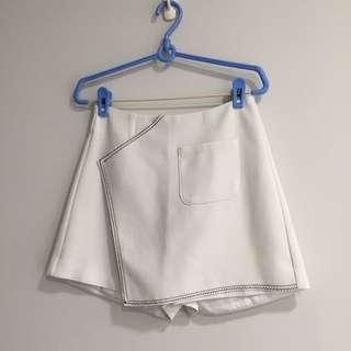 Kimono Overlap Skort In White