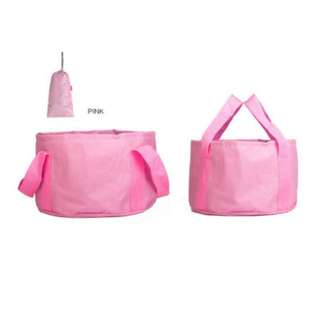 BN Portable Foot feet soak foldable wash basin for outdoor travel pedicure  bucket PINK