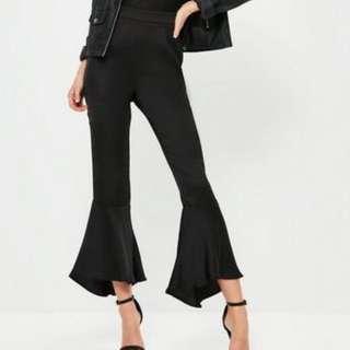 Black satin frill hem pants size 6