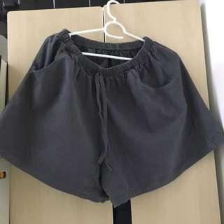 日系 森系 短褲 深灰 軍綠 灰藍 棉麻