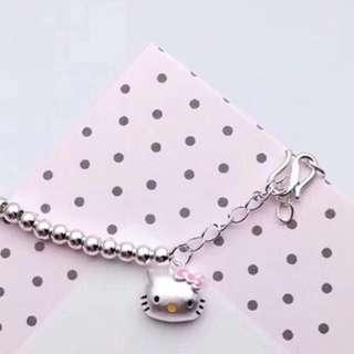 代購 香港正生銀飾 S925純銀   手環 kitty 手鐲 圓珠手鍊 滿月 彌月禮 小孩 寶寶 大人 銀手環  現貨 預購