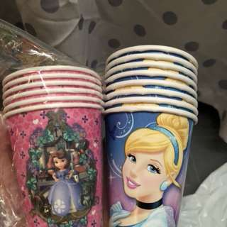 Party cups - Sofia princess and Cinderella