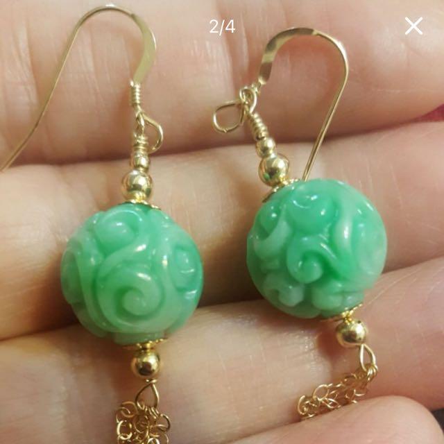 天然緬甸翡翠鑲18K金耳環