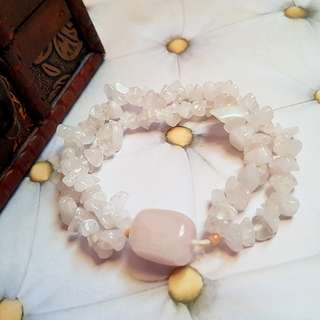 Ishka Double Layered Rose Quartz Gemstones Bracelet