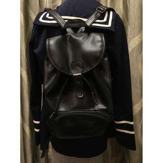 黑色PU皮背囊 Black PU Backpack