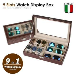 FREE POS Ready Stock 9 Slots Premium Italy Leather Watch Display Spec Holder Case Box