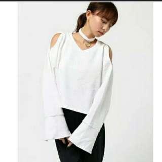 日本品牌WEGO 最新款 項圈白色衛衣(100%new 連吊牌)