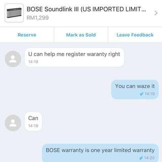 Customer Feedback! BOSE Soundlink III