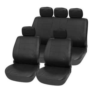 T21623 BK 11PCS CAR SEAT COVER SET PU LEATHER WATER-RESISTANT ANTI-DUST AUTO CUSHION PROTECTOR