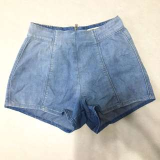 CO Light Denim High Waisted Shorts