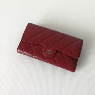 Chanel Tri Fold Wallet Red Lamb SHW