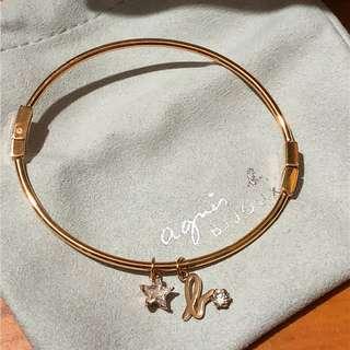 Agnes b 玫瑰金 星星 星形 閃石 Logo 名牌 手扼 手鐲 bracelet 手鍊 手鏈