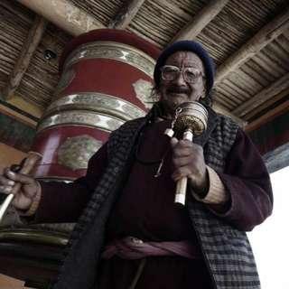 "Traditional Old Tibetan Mani Wheel 14""L"