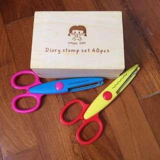 Craft supplies, rubber stamp, pattern scissors