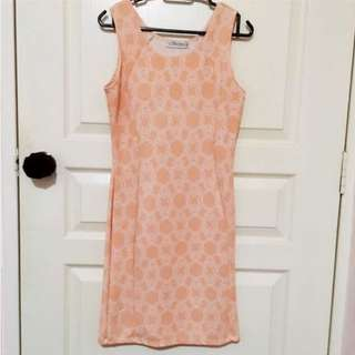 Coral Pink Office Dress (Free size) Chain Print