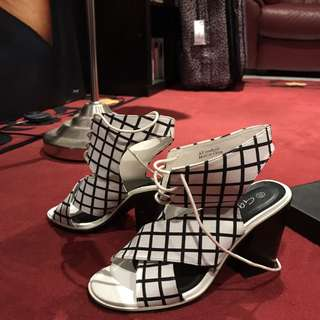 Black and white checkered shoes