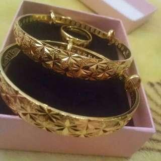 結婚龍鳯鐲金器一對 金戒指一隻