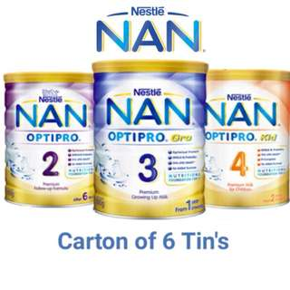 ◄ NESTLE NAN ► 6 x 800g Carton Sale ★ Baby Milk Powder Optipro 2 800g x 6 / 800g x 6 Optipro Gro 3 / 900g x 6 Kid 4  / 1.8kg x 3 kid 4 / OPTIPRO H.A 2 800g x 6 /OPTIPRO H.A 3 800g x 6★ INCLUDING FREE DELIVERY 2 to 3 working days