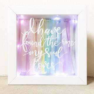 Night Light w/ Customised Calligraphed Content & Ribboned Backdrop (Valentine's Day, wedding, couple, personalised, baby, kids, children, baby shower, gift, decor, shadow frame, box, fairy lights)