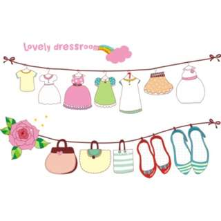 Lovely Dress Room WAll Sticker