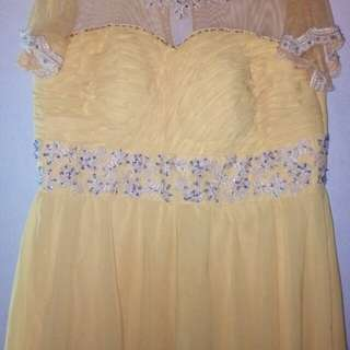 Yellow Chiffon Gown for Sale