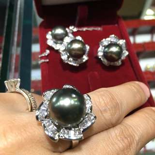Black south sea pearls for sale complete set earrings necklace ring
