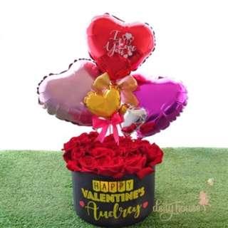 Valentine Rose & Balloon Bouquet