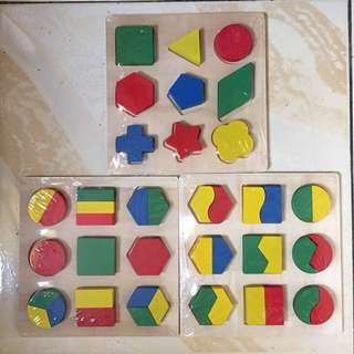 WOODEN PUZZLE SHAPE SET OF THREE