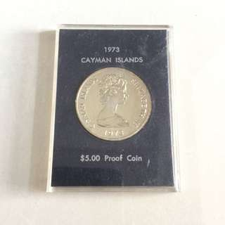 Cayman Island 1973 $5 silver proof coin