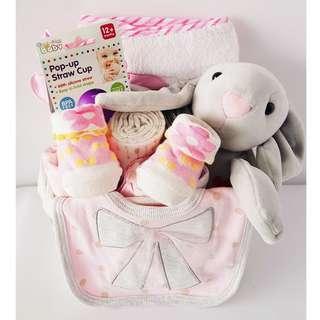 Bunny Baby Girl Gift Basket