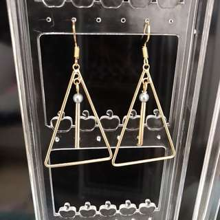 🚚 全新金色三角幾何耳環