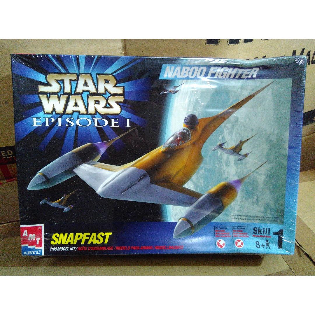 1999 AMT ERTL Star Wars Episode 1 Naboo Fighter SnapFast 1:48 Model Kit MISB