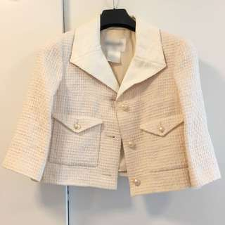 CHANEL Classic Ivory with Leather lapel and Pearls button Jacket