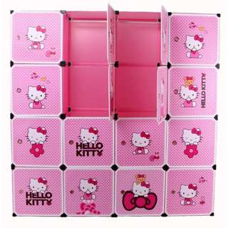 16 Cubes Hello Kitty DIY Wardrobe Cabinet with Shoe Rack