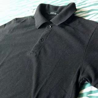 Folded and Hung Plain Black Polo Shirt